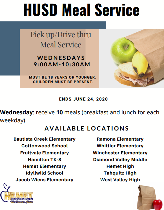 List of participating schools participating in the meal distribution program.