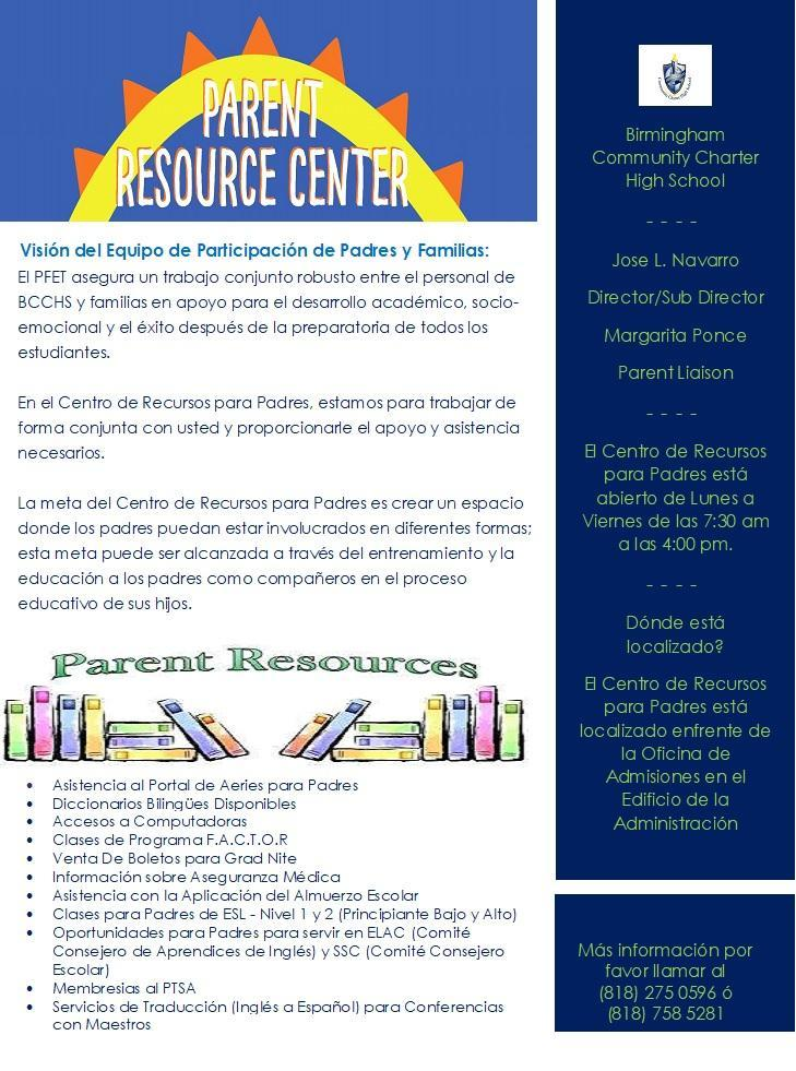 Parent Center Flyer - Spanish