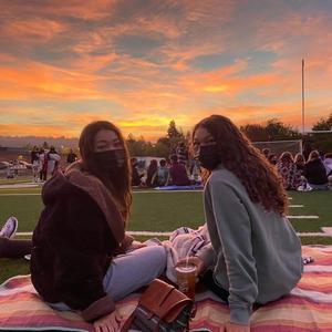 girls on blanket