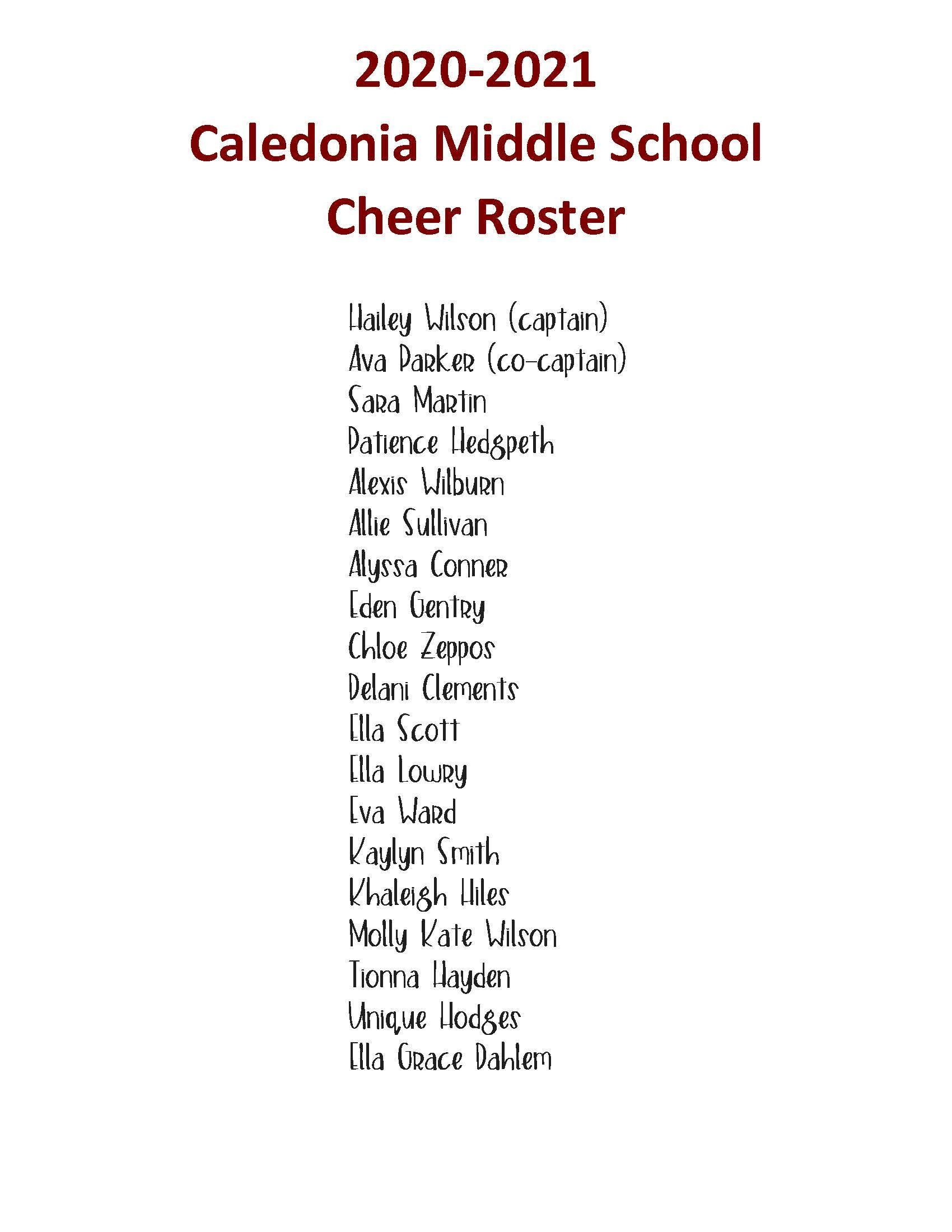 2020-21 Cheer Roster