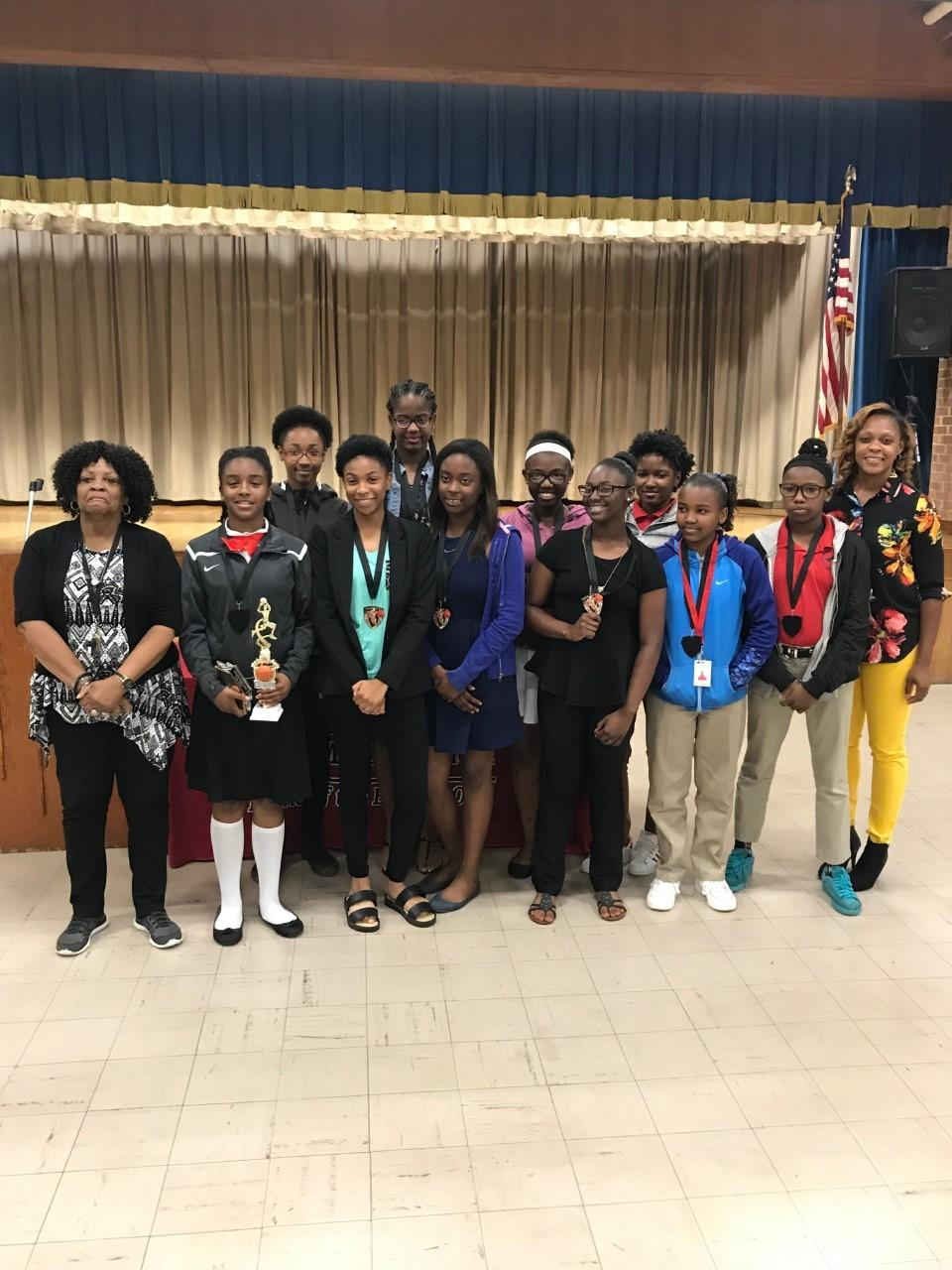 Baker Middle School Athletes in group photo at the 2017 Awards Banquet