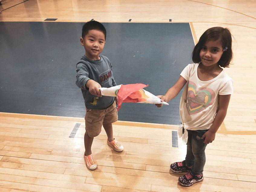 aHWIS Immersion Summer Camp HudsonWay Olympians with their Olympic Torches