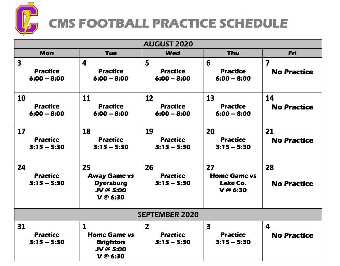 Football Conditioning Schedule 1