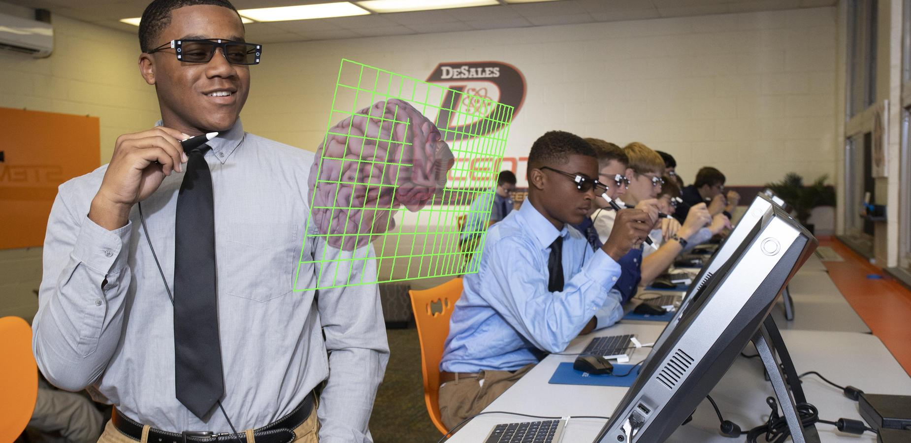 students with virtual reality