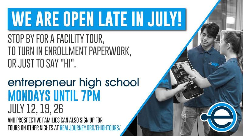 Flyer about extended office hours in July with students programming tech equipment