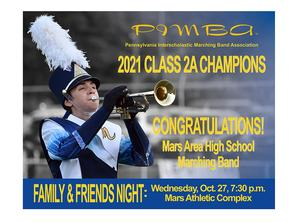 Mars Area High School Marching Band won the Class 2A Championship Title at the 2021 PIMBA (Pennsylvania Interscholastic Marching Band Association) Championships, held Oct. 23, at Gateway High School.