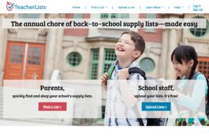 Screenshot of Teacherlists.com main page.