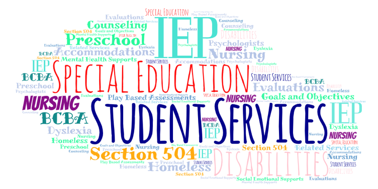 Word cloud with words related to special education