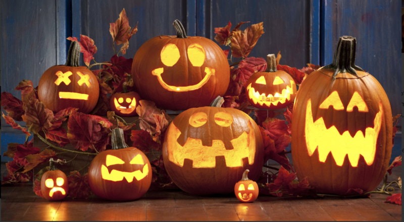 The blaze of jack o'lanterns for Halloween