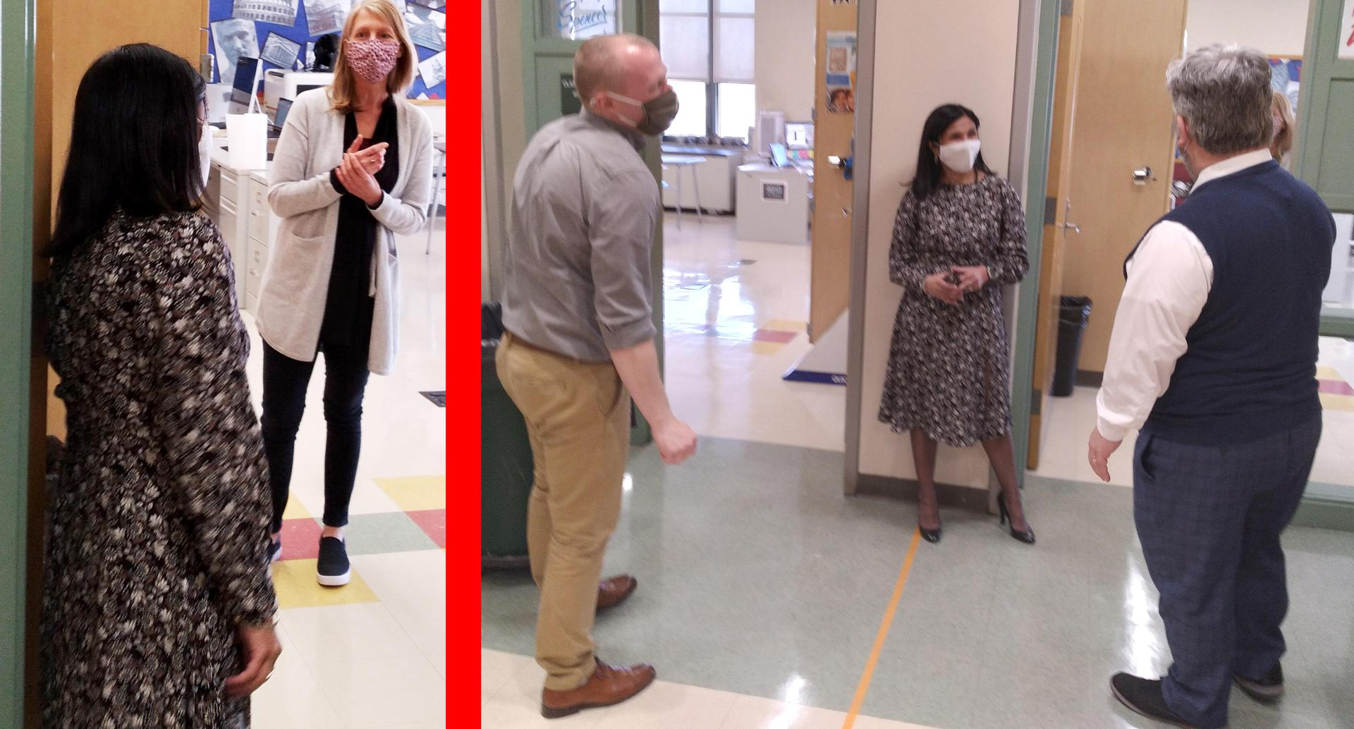 Two-tile photo, superintendent talking to educators