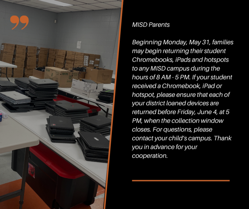 MISD Device Collection 5/31 - 6/4 | click to learn more Featured Photo