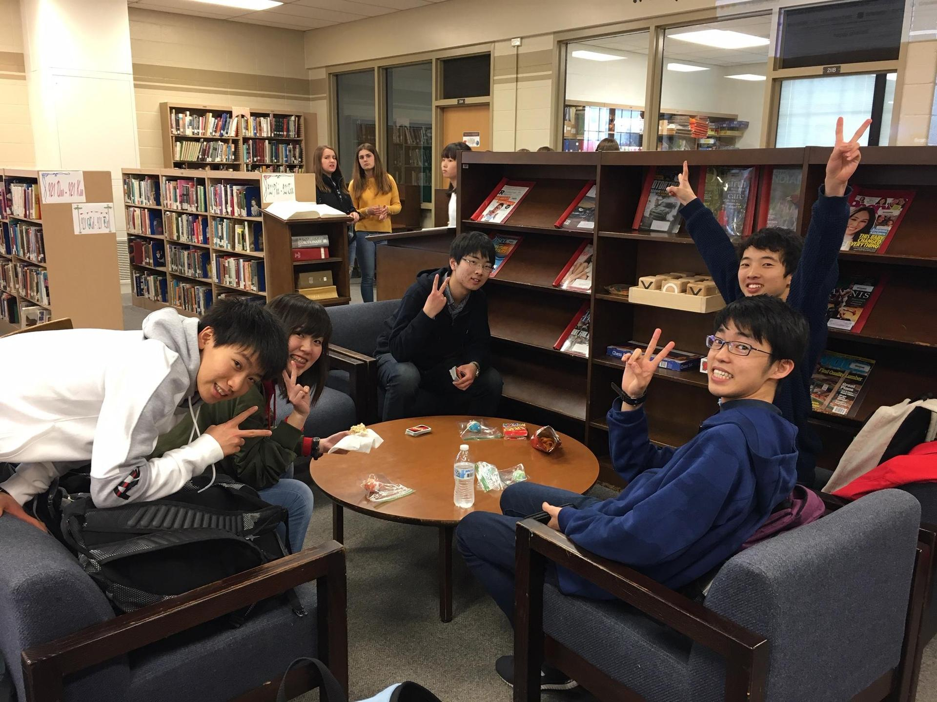 Exchange students in Library.