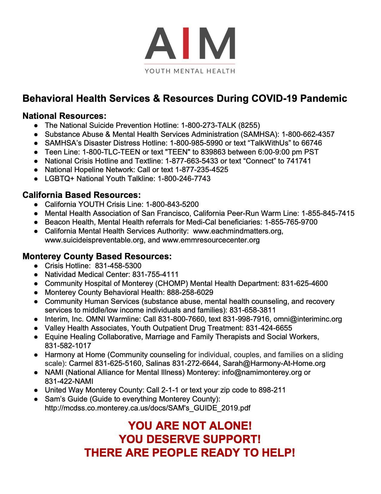 Mental Health Resources Monterey County