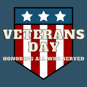 Veterans Day - Honoring All Who Served. American Flag.