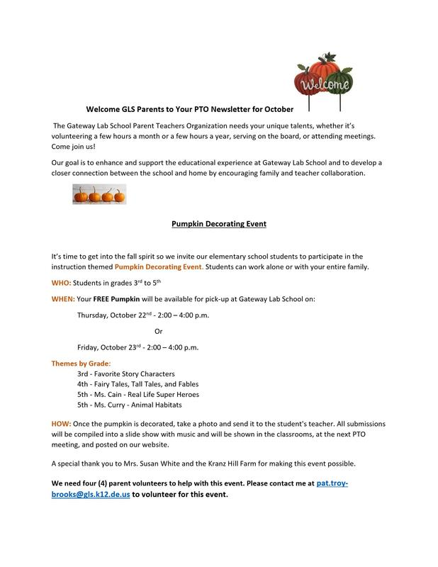 GFF PTO October Newsletter Featured Photo