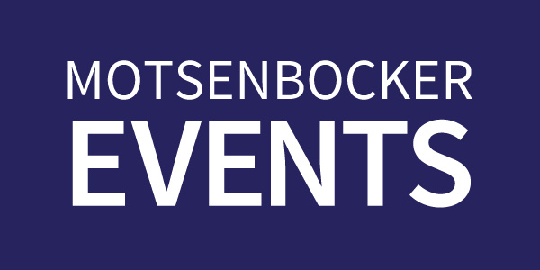 Motsenbocker events text on a dark blue rectangle button