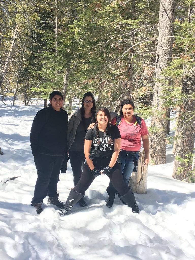 Students enjoy the snow.