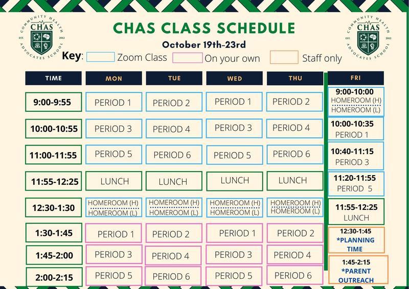 CHAS Class Schedule Week of Oct 19th / Horario de clases de CHAS Semana del 19 de octubre Featured Photo
