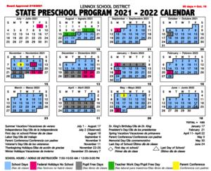 2021-2022 Preschool School Year Calendar