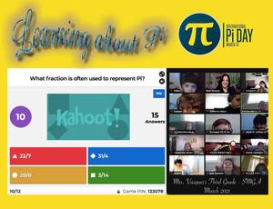 Pi day kahoot and zoom collage