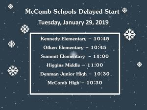 Start times delayed January 29, 2019