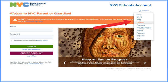 It is an screen shot of the NYCDOE students account page