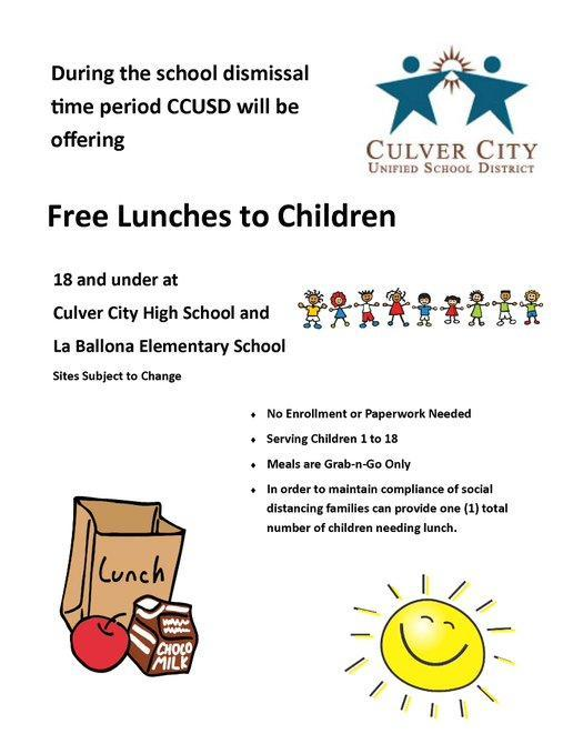 GRAB and GO LUNCHES  are available at La Ballona Elementary School Featured Photo
