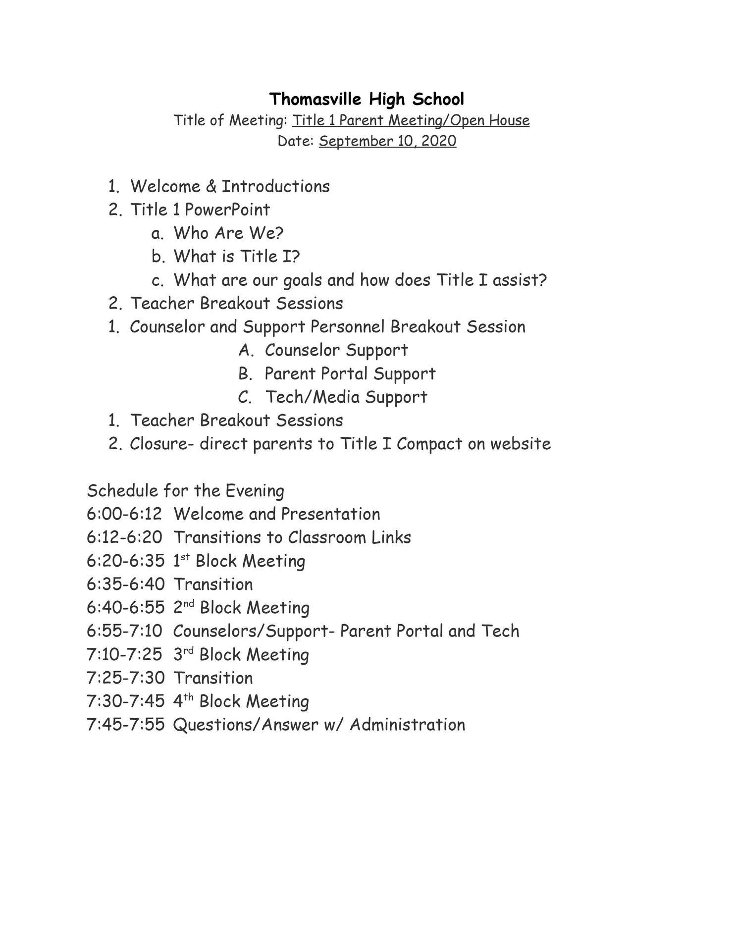 Open House Agenda 9-10-20