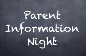 chalkboard with parent information night