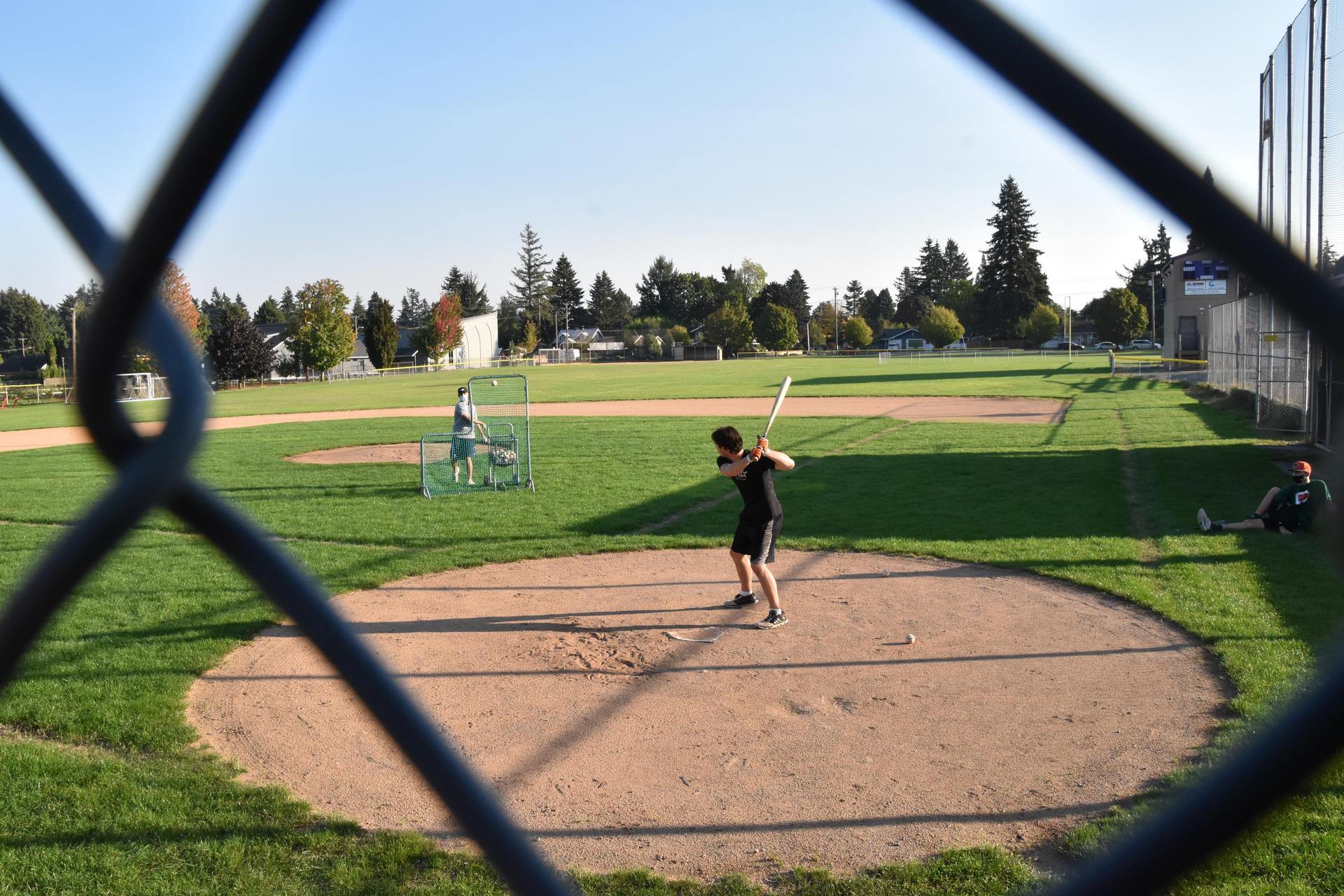 Portland Christian student at baseball training
