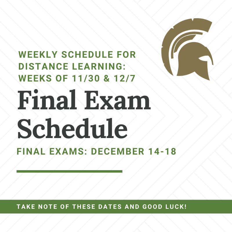 Weekly Schedule for Distance Learning & Final Examinations Featured Photo