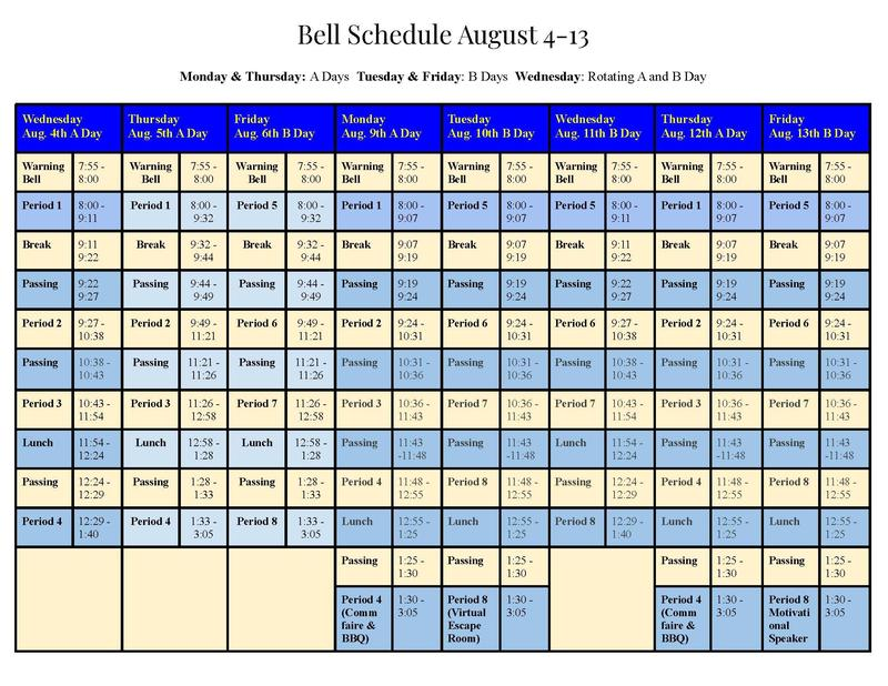 Schedule for 8/4-13