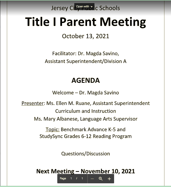 Title I Parent Meeting Schedule for 2021-2022 School Year Featured Photo