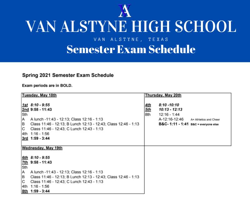 2021 Semester Exam Schedule Thumbnail Image
