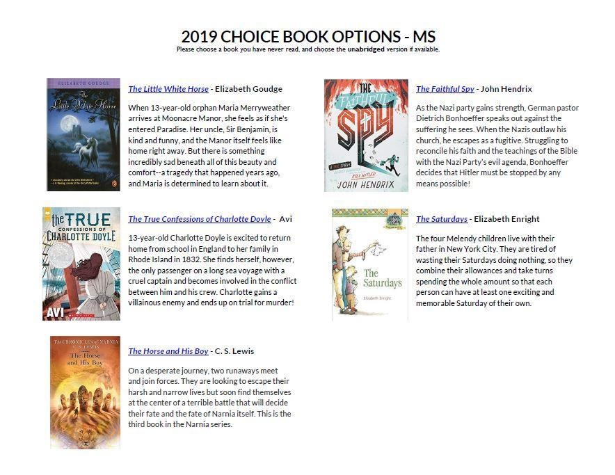 2019 Summer Reading - Miscellaneous - Seven Rivers Christian