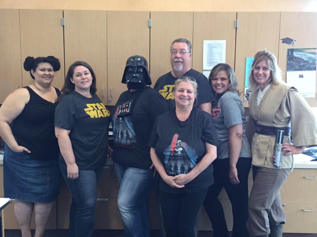 Staff showing their school spirit dressed up as Star Wars characters