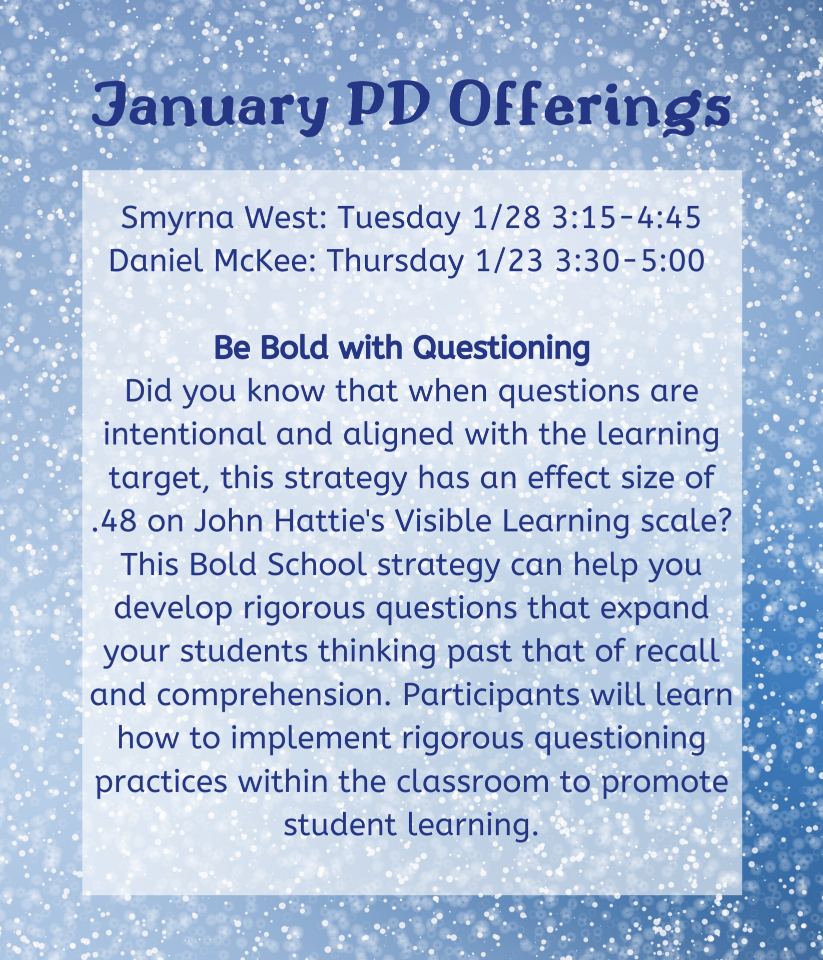 January PD Offerings