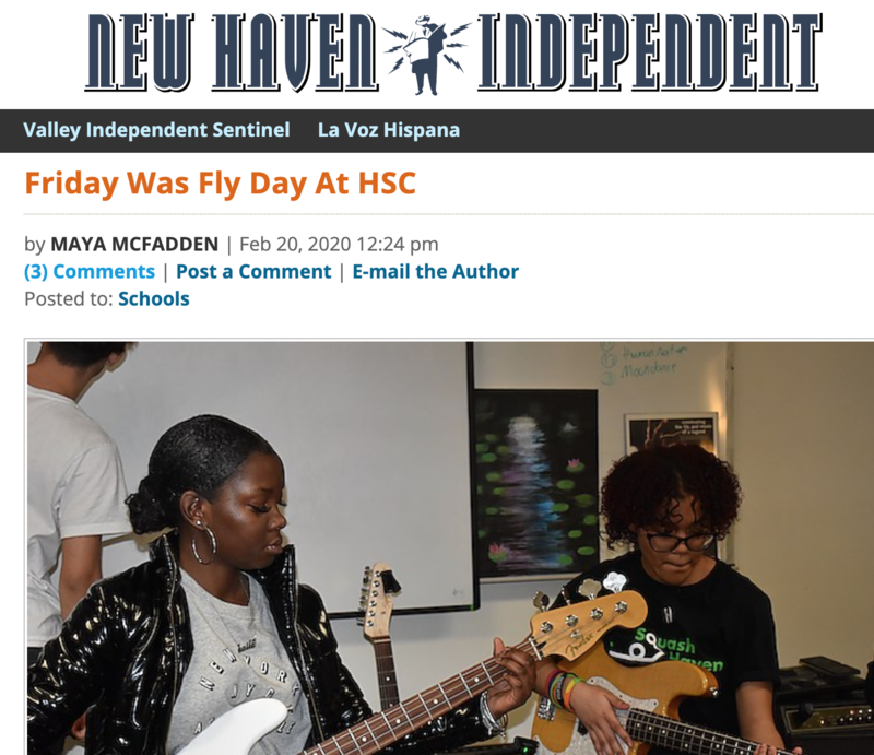 Two students play bass and guitar. New Haven Independent masthead and