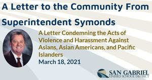 A Letter to the Community From Superintendent Symonds