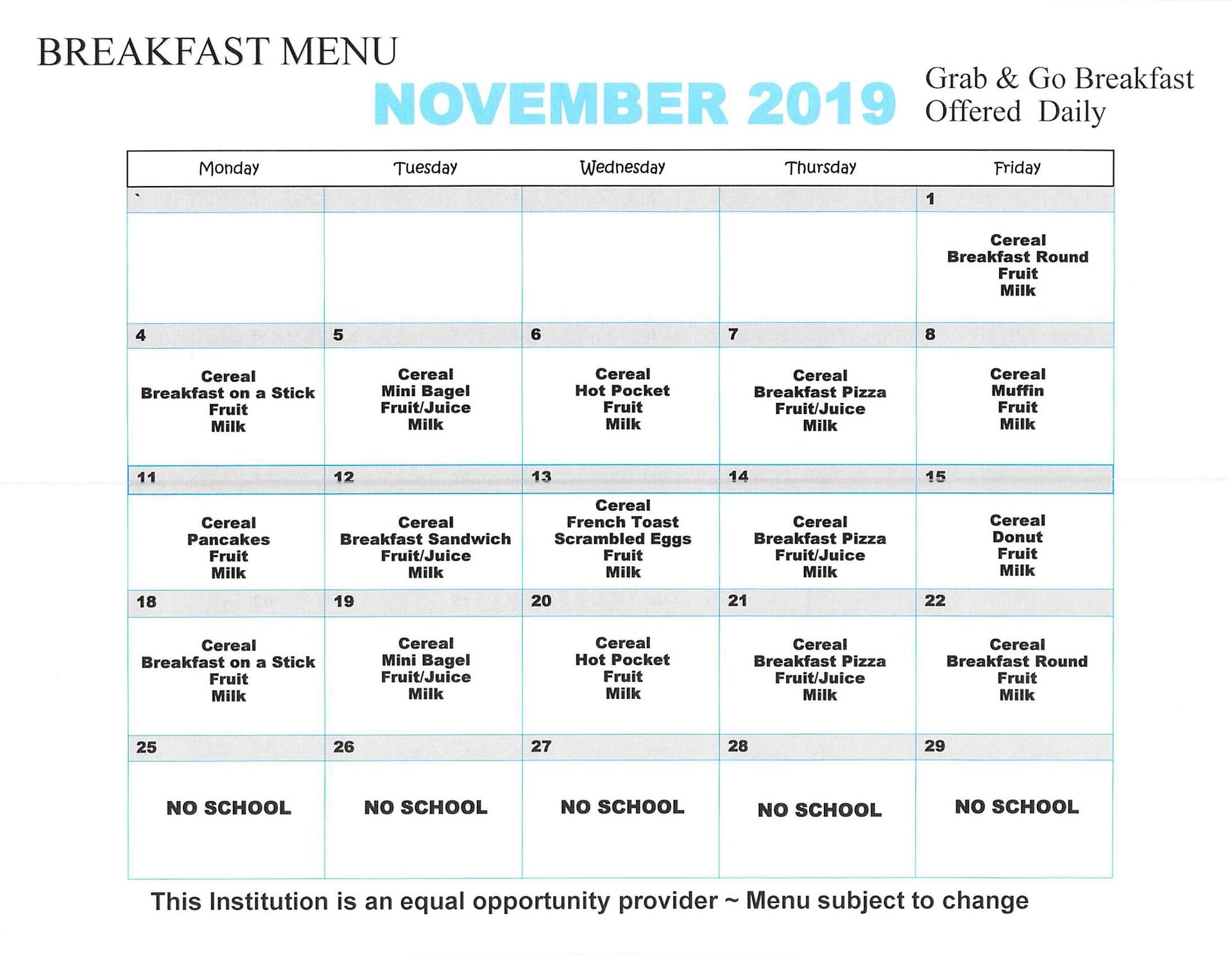 November 2019 Breakfast Menu Elementary