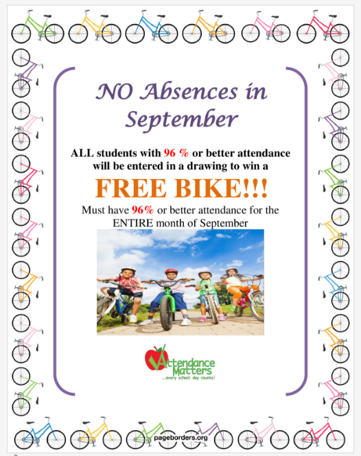 Free Bike Give Away for attendance over 96% for September
