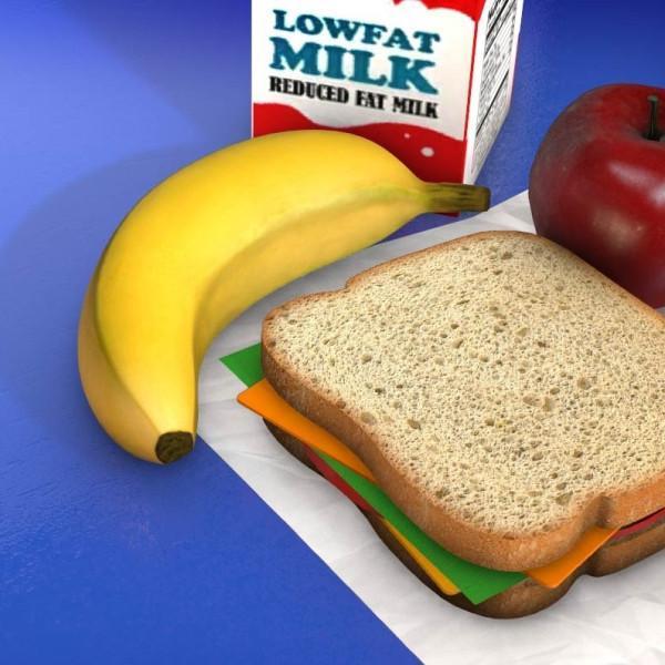 sandwich, banana, milk