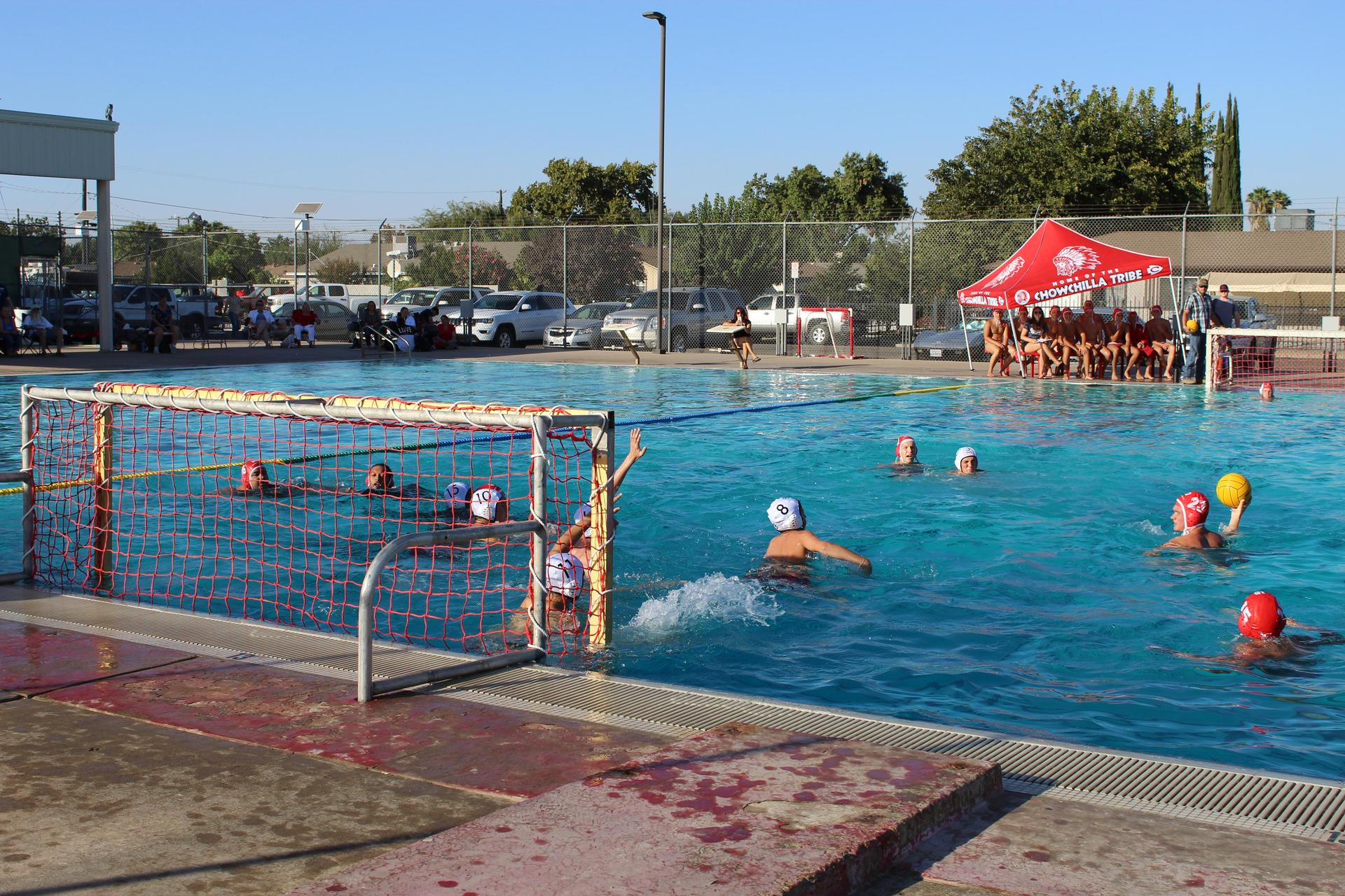 Boys playing water polo against Kerman