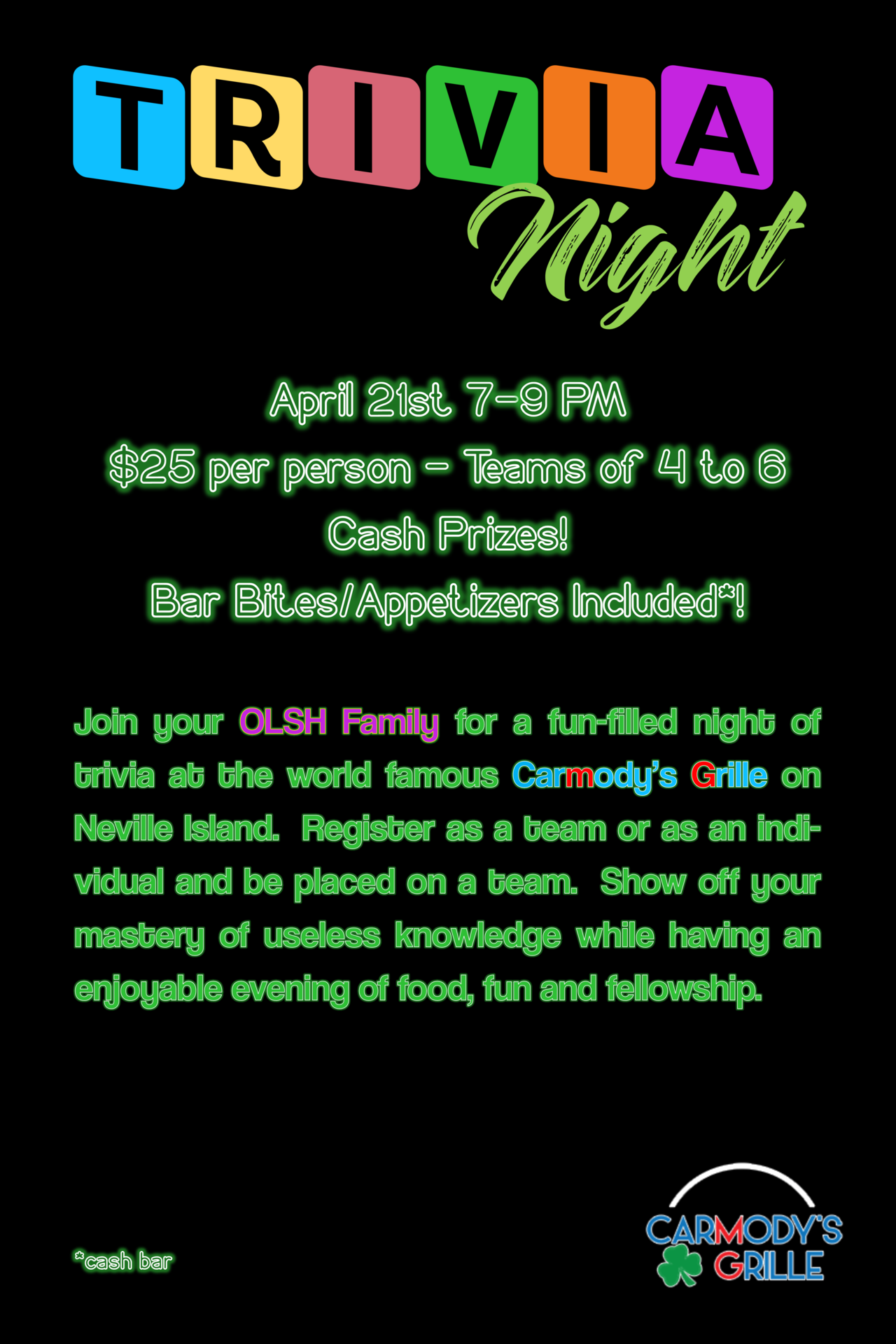 image of OLSH Trivia Night sign