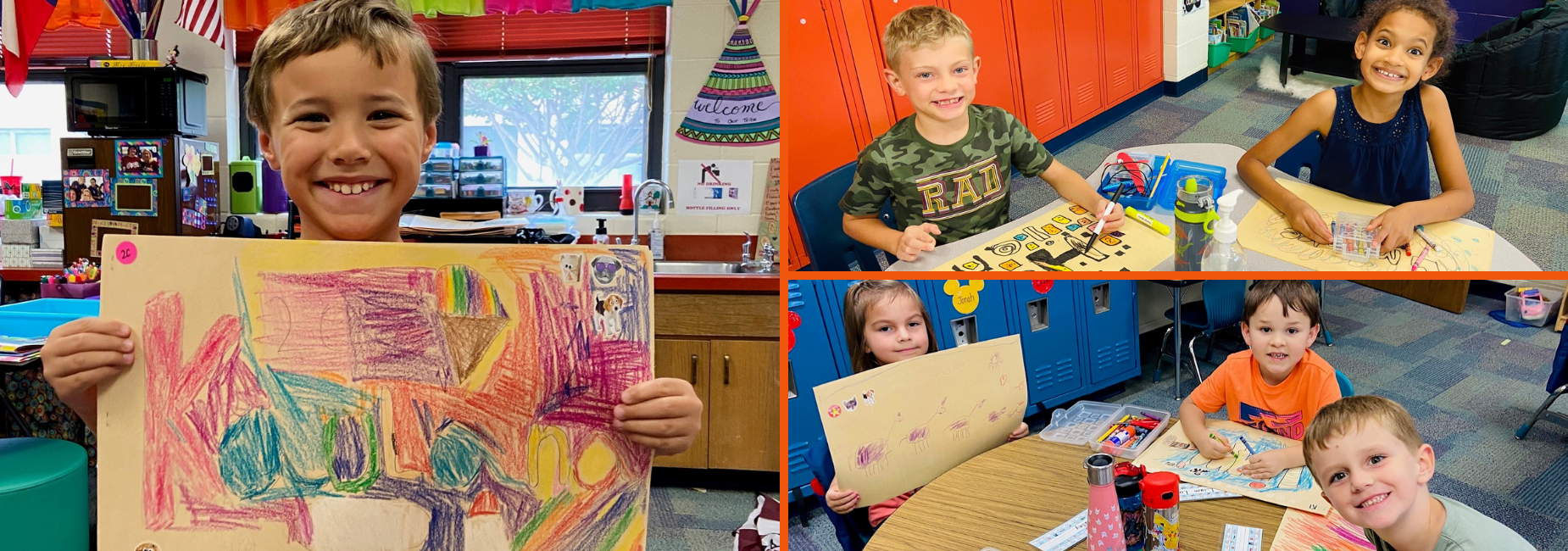 collage of 3 pictures with students coloring