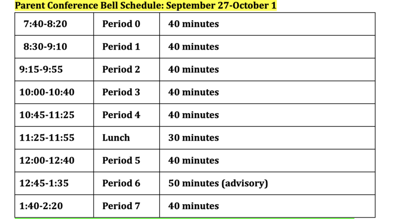 Parent Conference Bell Schedule Featured Photo