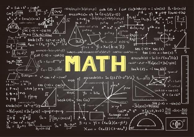 Chalkboard background image with various math equations and formulas