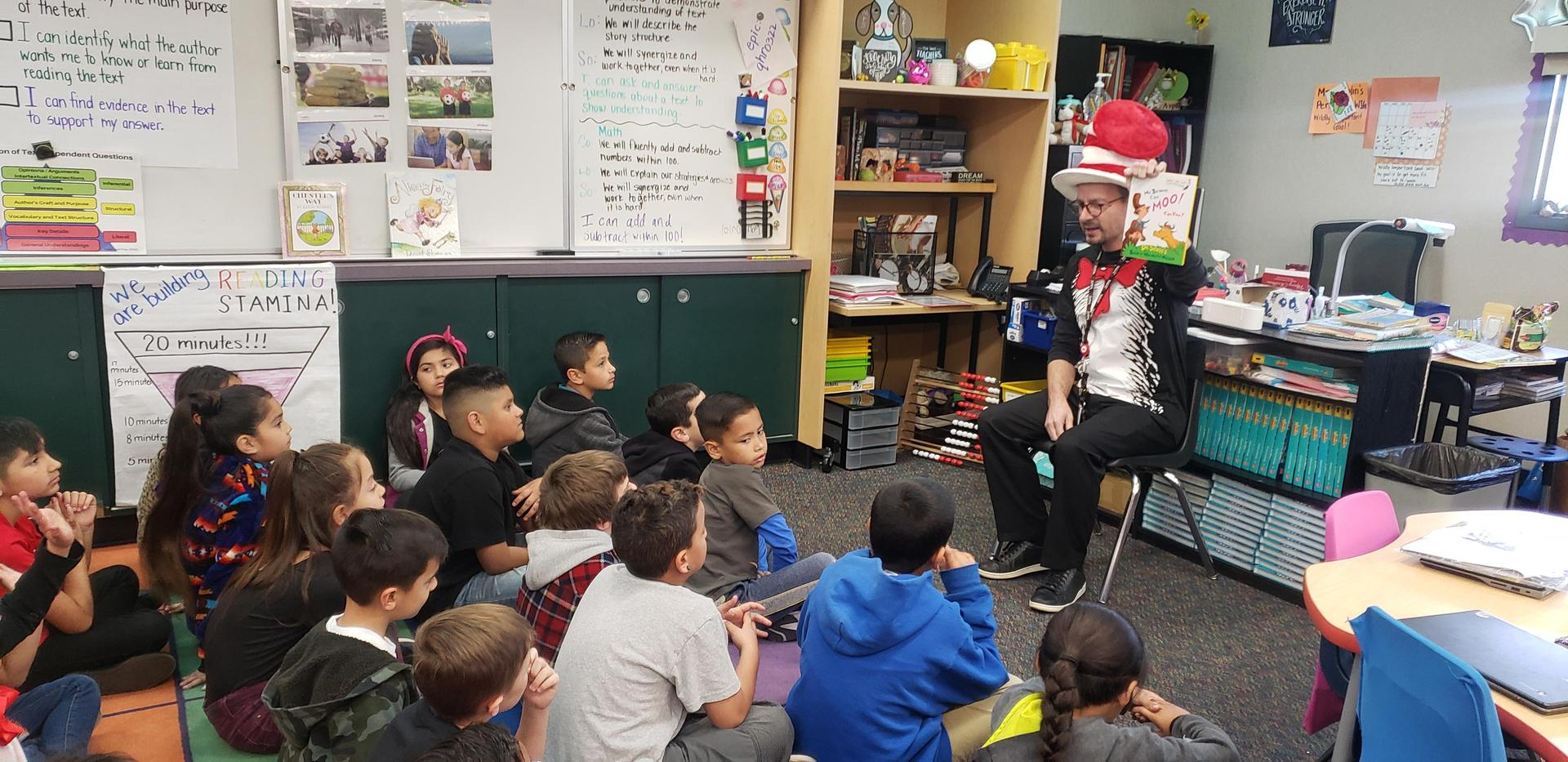 Executive Director Luke Smith read to Estudillo Elementary students during Read Across America 2020