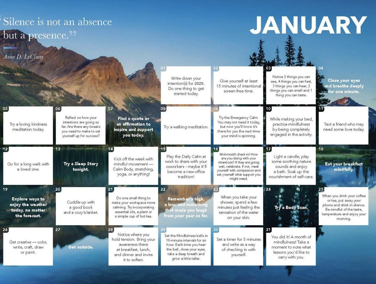 Daily Calm Calendar
