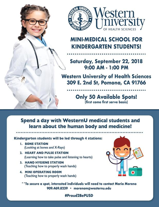 Western University of Health Sciences presents Mini-Medical School for Kindergarten Students